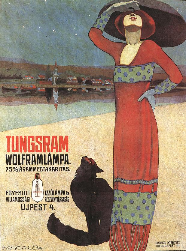 Historyczny plakat promujący żarówki Tungsram
